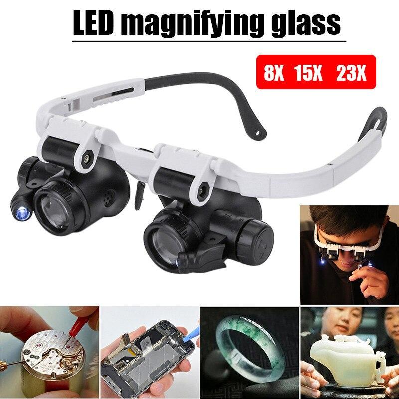 9892H-1 montado en la cabeza 8X 23X lupa LED doble ojo gafas lupa lente joyero reloj Reparación de medición con lámpara LED