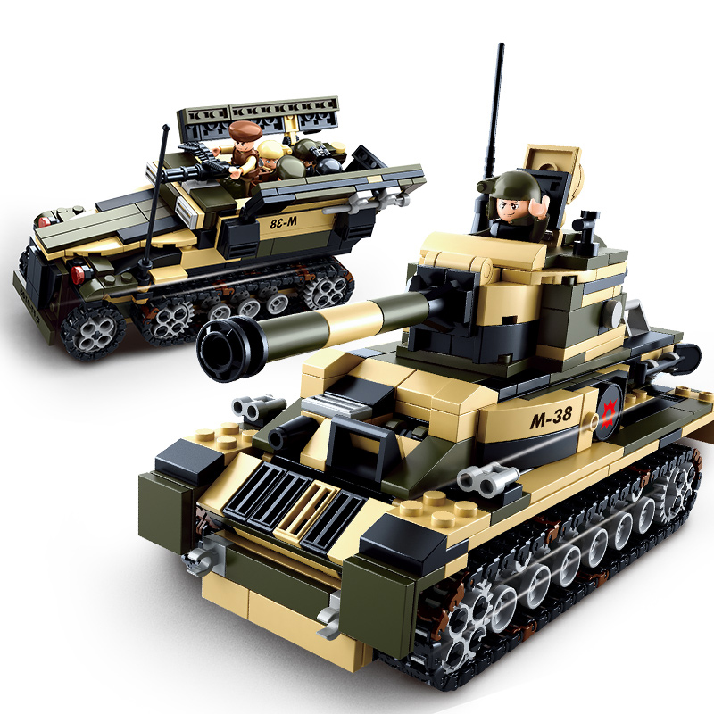 Sluban model building kits compatible with lego city tank 8 in1 3D blocks Educational model & building toys hobbies for children