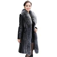 Women's Genuine Sheepskin Leather Suede Down Parkas Coat Jacket with Fox Fur Collar Female Outerwear Coats Plus Size VK1097