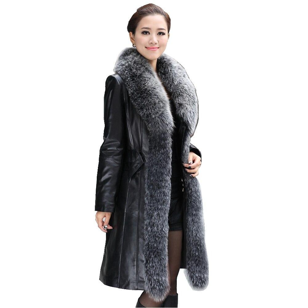Femmes En Cuir Véritable Peau de Mouton En Daim Bas Parkas Manteau Veste avec Fox Col De Fourrure Femme Manteaux Taille Plus VK1097