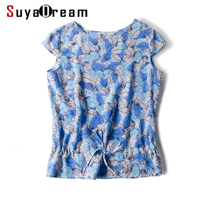 Women Silk   Blouse   100%Real Silk Crepe Printed   Blouse     Shirt   Short Office Lady Short Sleeved 2019 Spring Summer New Top