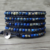 Boho 5 Wrap Bracelet gypsy Leather wrap bracelet Blue beads bracelet natural stone Jewelry friendship gift