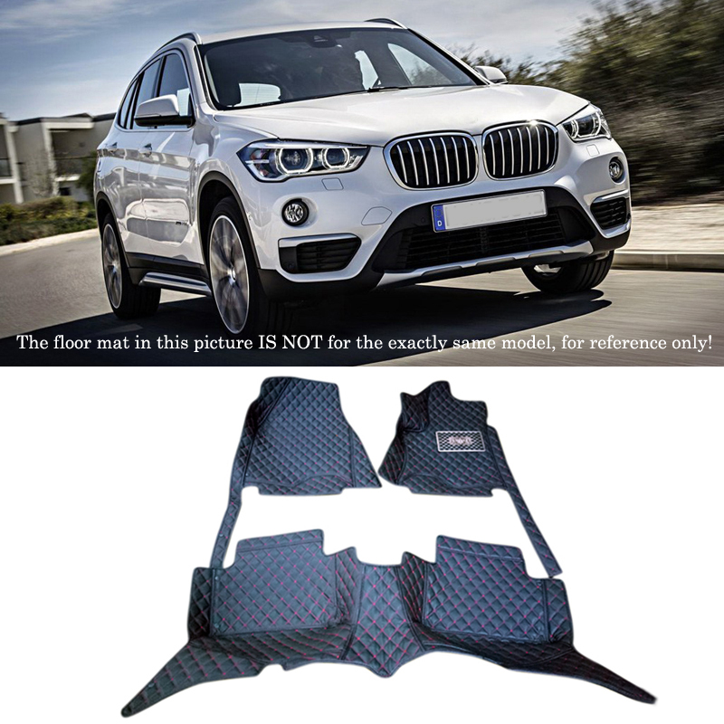 For BMW X1 F48 2016 2017 Interior Leather Floor Carpets Car Foot Mat Pad 1set Car Styling accessories! for vw volkswagen tiguan second generation 2016 2017 interior artificial leather floor carpets foot mat car styling