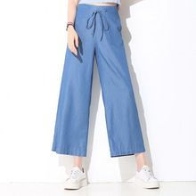 2018 summer new product tencel jeans female wide leg pants high waist lace up thin breathable