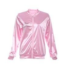 2016 Halloween Pink Lady Retro Jacket Womens Fancy Coat Grease Costume Cheerleader H