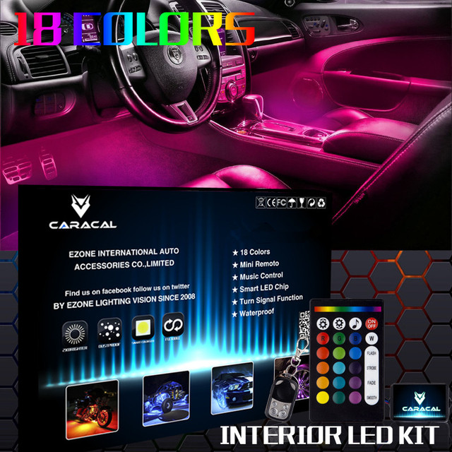 4pc 24 Custom Led Neon Interior Car Accent Glow Footwell Lighting Kit