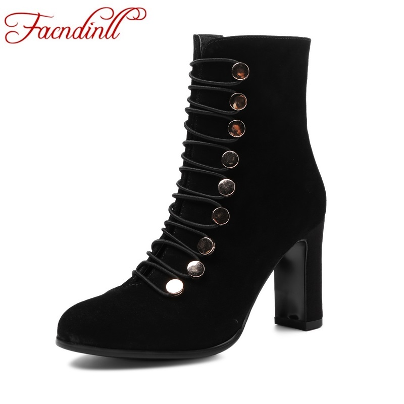 FACNDINLL shoes woman ankle boots fashion genuine leather high heels round toe zipper rivets shoes woman motorcycle boots women party magic coin into glass dish magician trick tool silver black