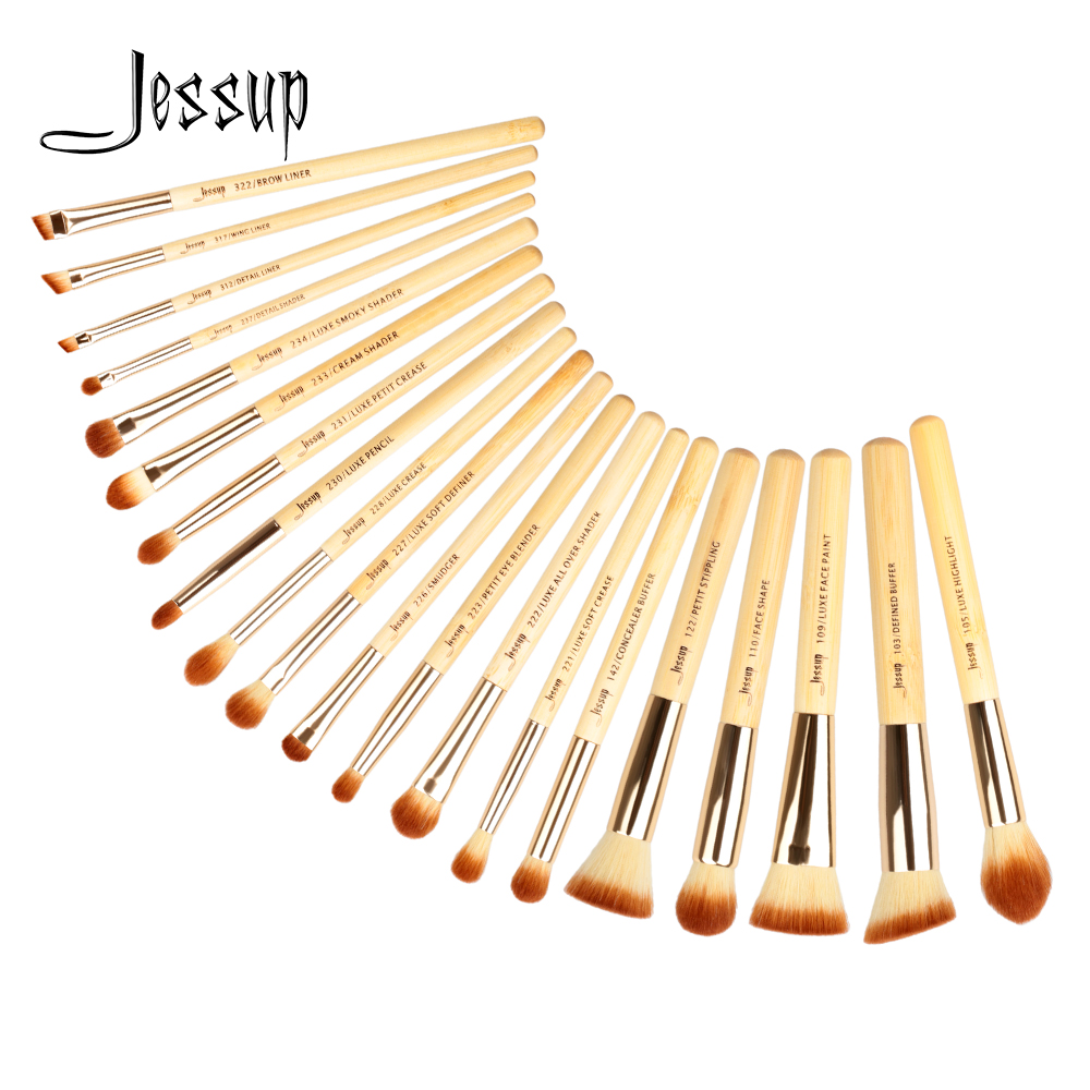 Jessup Brushes 20pcs Beauty Bamboo Professional Makeup Brushes Set Makeup Brush Tools kit Foundation Powder Brushes T145