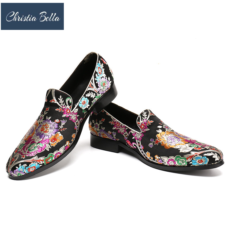 Christia Bella New Style Handmade Black Color Print Flower China Style Men Loafers Wedding and Party Men Shoes Fashion Mens Flat stylish handpainted flower and paisley print wedding casual party black tie for men