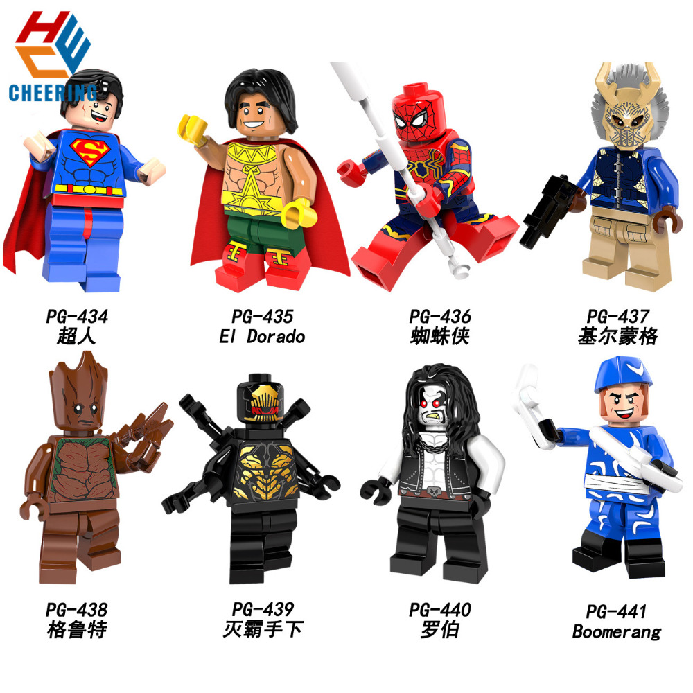 Single Sale Building Blocks Super Heroes Erik Killmonger Superman El Dorado Lobo Model Bricks Figures For Children Toys PG8109
