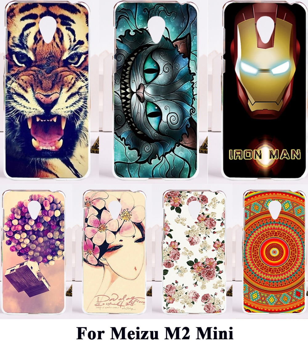 AKABEILA Silicon Plastic Cover Cases For Meizu M2 Mini Meilan 2 Dual SIM 4G Meilan2 Housing Bag For Meizu M2 Mini Cat Tiger Case