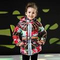 Meninas Inverno Casaco Jaqueta Com Zíper 2016 Nova Moda Cinto de Algodão para 3-8 Anos de Miúdos Meninas Impressão Floral Grosso Outerwear