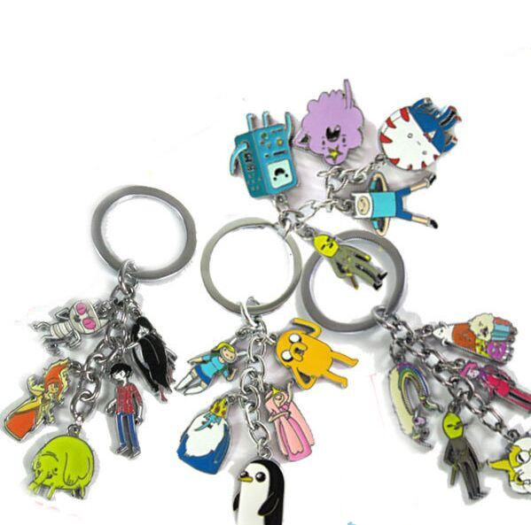 4 style Cute Adventure time Beemo Jake Finn Pendant Metal Keychain Free Shipping