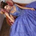 Jeweled Beading em Tulle vestido de Baile Sexy V-decote Cap Mangas Vestidos Quinceanera Azul Royal Vestidos Quinceanera