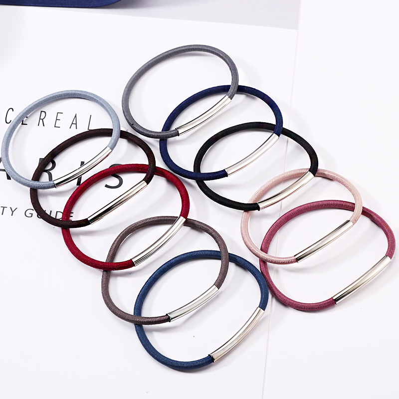 2018 New 10PCS/Lot Women Basic Metal Solid Rubebr Bands Fashion Elastic Hair Bands Ponytail Holder Lady Hair Accessories Tie Gum