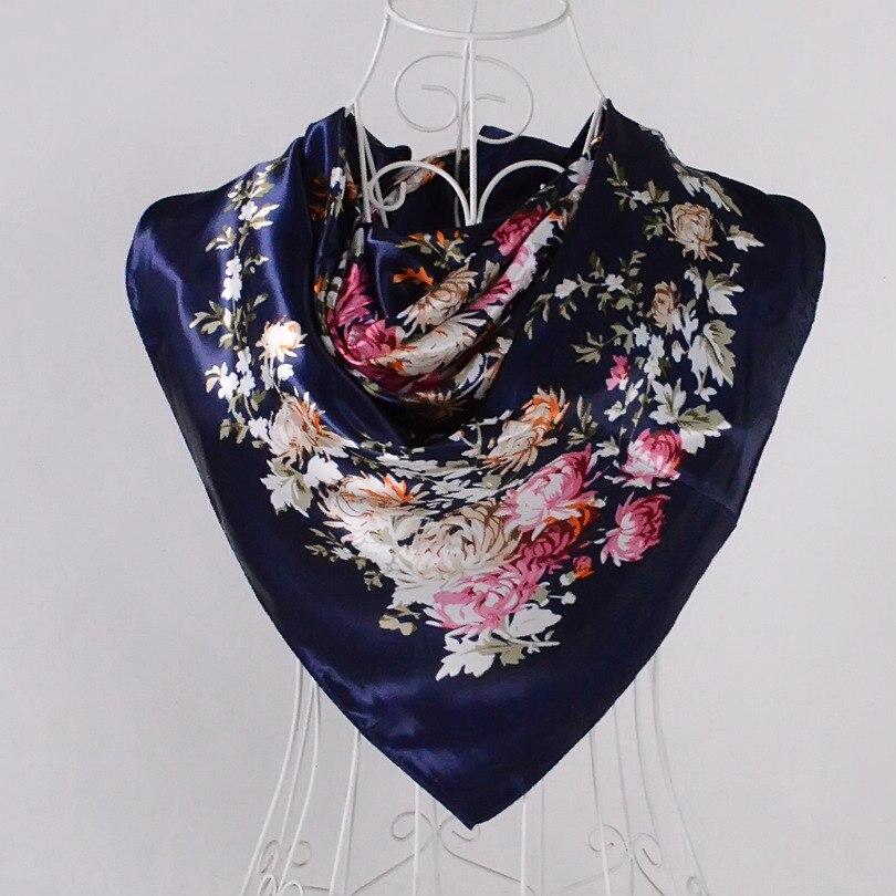 Дизайн женский Шелковый большой квадратный шелковый шарф из полиэстера, 90*90 см горячая Распродажа атласный шарф с принтом для весны, лета, осени, зимы - Цвет: blue pink 528