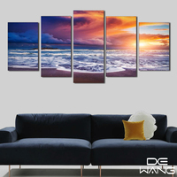 البحرية قماش الفن شروق الشمس في البحر قماش يطبع المنزل الصورة 5 لوحة زيتية للعيش الديكور الطباعة السرير غرفة