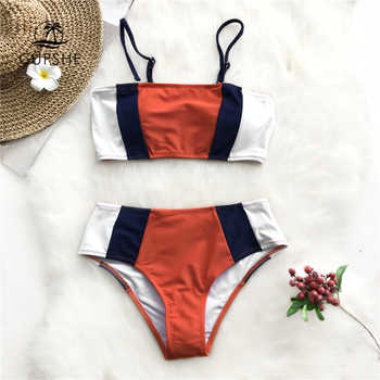 CUPSHE Tricolor Bandeau Bikini Sets Women Patchwork Mid Waist Adjustable Two Pieces Swimwear 2019 Girl Beach Bathing Swimsuits - DISCOUNT ITEM  47% OFF All Category