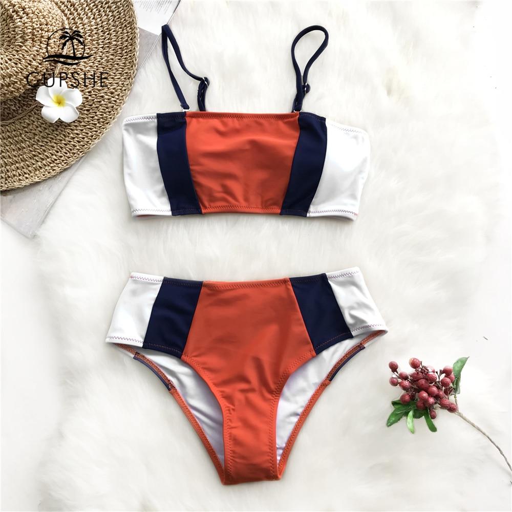 CUPSHE Tricolor Bandeau Bikini Sets Women Patchwork Mid Waist Adjustable Two Pieces Swimwear 2020 Girl Beach Bathing Swimsuits