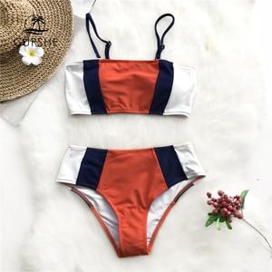 Image 1 - CUPSHE Tricolor Bandeau Bikini Sets Women Patchwork Mid Waist Adjustable Two Pieces Swimwear 2020 Girl Beach Bathing Swimsuits