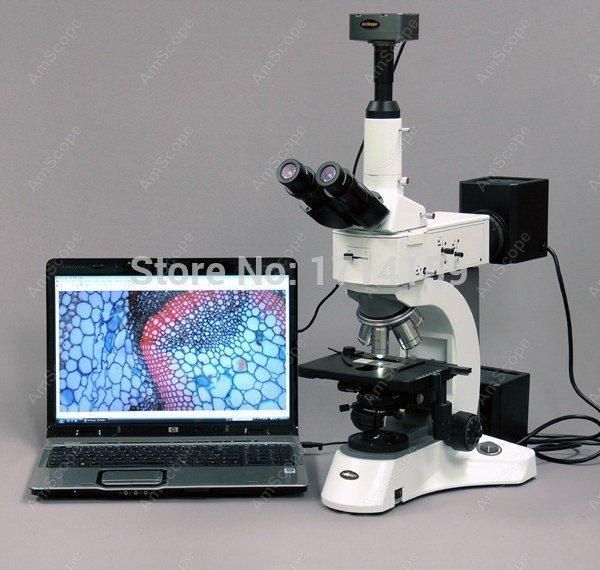 Metallurgical Microscope--AmScope Supplies 50X-2500X Darkfield Polarizing Metallurgical Microscope + 5MP Camera