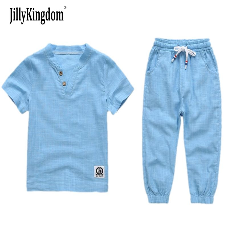 JILLYKINGDOM 2017 Baby Boys kids Sets Summer Boys Sets Clothes T shirt+short Pants cotton sports Letter solid Set Children Suit