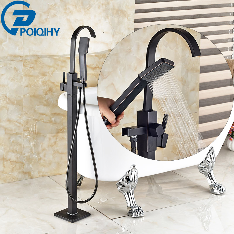 POIQIHY Floor Mounted Oil Rubbed Bronze Single Handle Bathtub Mixer Tap Free Standing Handheld Shower faucet cold and hot water new us free shipping simple style golden finish bathtub faucet mixer tap shower faucet w ceramics handheld shower wall mounted