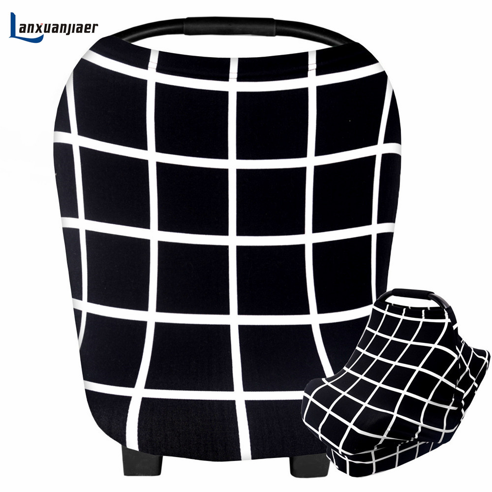 Lanxuanjiaer Multi-Use Nursing Cover Scarf plaid Breastfeeding Shopping Cart Cover Baby Car Seat Cover Canopy for 0-24 Months