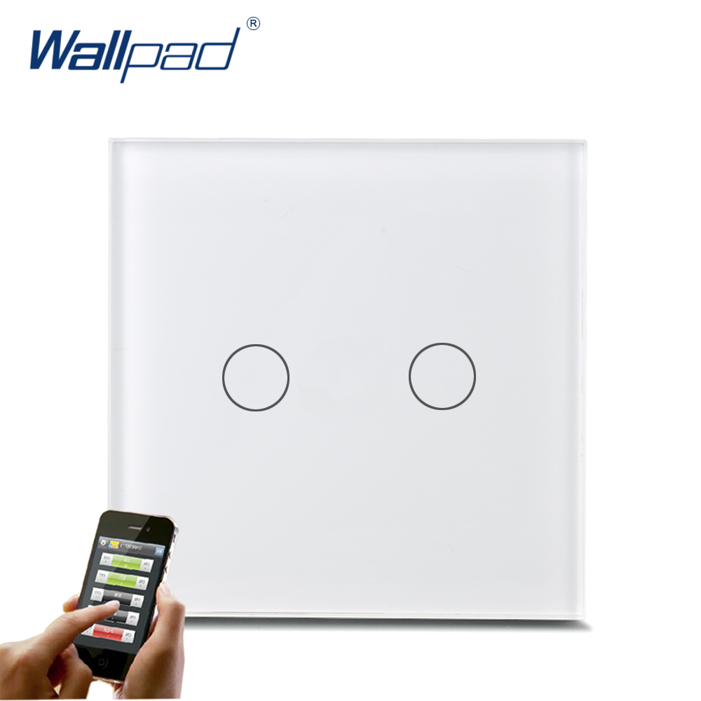 Waterproof WIFI Wallpad White Glass Panel Android/IOS Phone EU UK 2 Gang Wireless WIFI Remote Touch Controlled Light Wifi Switch 1gang white glass gsm zigbee mobile wireless remote control light switch wifi remote light switch android ios free shipping