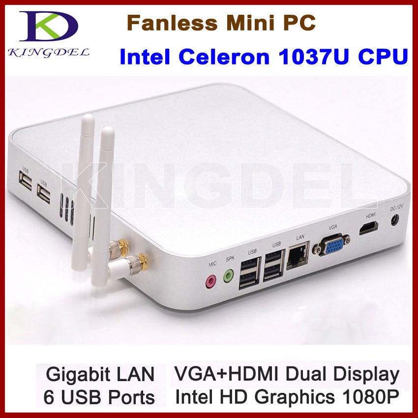 Тонкий ПК без вентилятора KINGDEL, мини-компьютер HTPC 8 ГБ ОЗУ/1 ТБ HDD с металлическим корпусом, Intel Celeron 1037U, 1080P HDMI