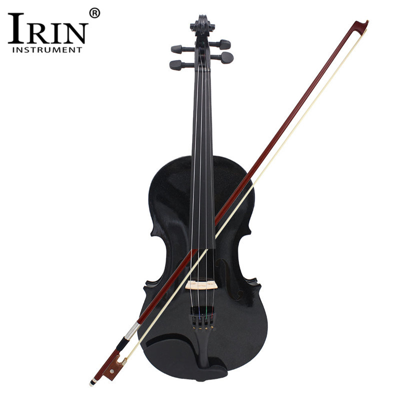 IRIN 4/4 Full Size Acoustic Violin Fiddle Black With Case Bow Rosin Basswood Blacked Wood 4 Pcs/set Musical Instruments Stringed