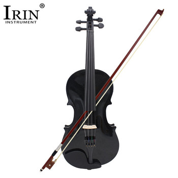 IRIN 4/4 Full Size Acoustic Violin Fiddle Black with Case Bow Rosin Basswood Blacked Wood 4 Pcs/set Musical Instruments Stringed irin 4 4 wood maple electric violin fiddle with ebony fittings cable headphone case black