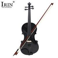 Violino 4/4 tamanho completo violino acústico violino preto com caso arco rosin basswood madeira preta 4 peças instrumentos musicais cordas