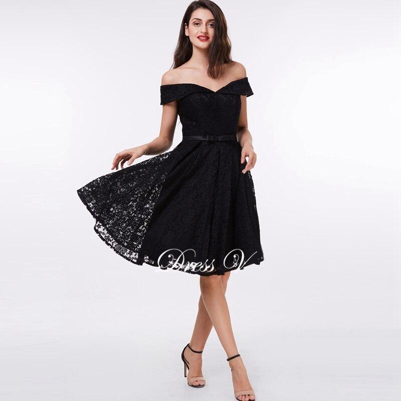 Dressv schwarz Eine linie spitze cocktailkleid sexy weg von der ...