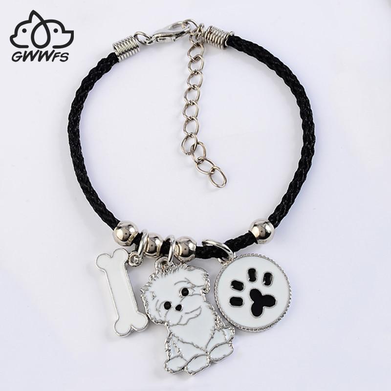Shih Tzu charm armband amp armband för kvinnor tjejer silver färg legering rep kedja hund hund kvinnliga armband armband bijoux femme