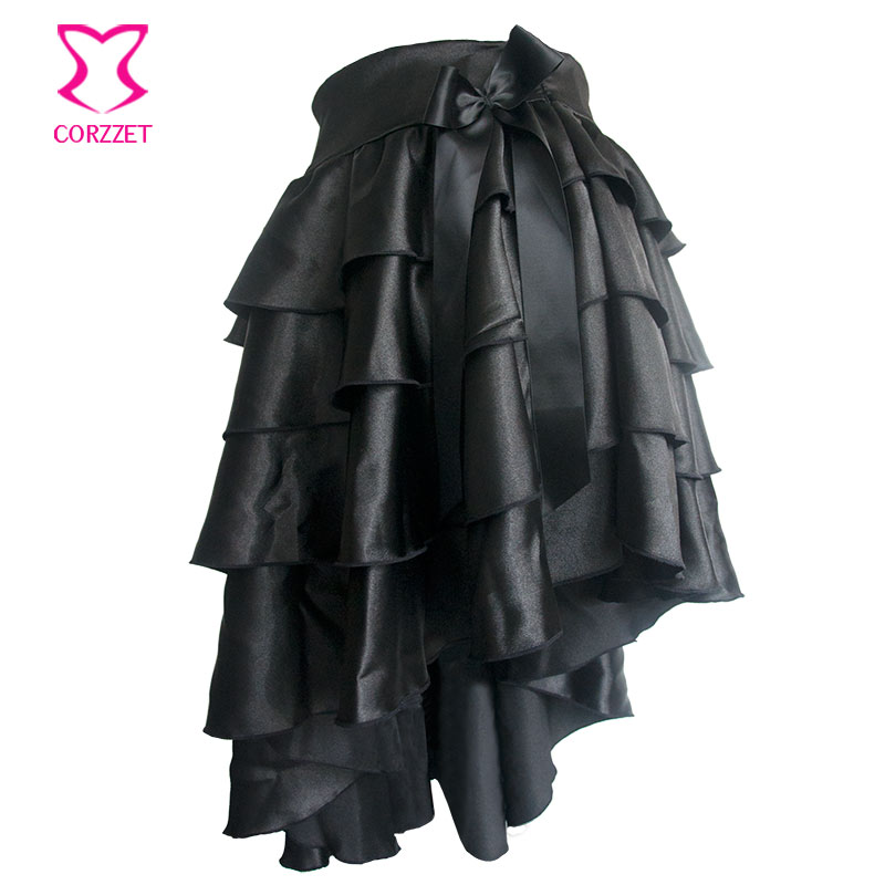 Victorian Black Ruffle Satin Layered Asymmetical Gothic Skirt Women - Women's Clothing