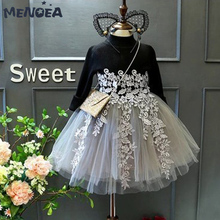 Menoea Girls Dresses Sweet Applique Princess Dress Kids Girls Clothing Cute Wedding Party Ball Gown Dresses Children Clothing цена в Москве и Питере