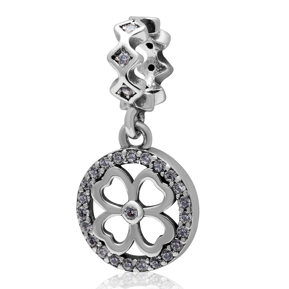 Authentic 925 sterling silver Four Leaf Clover Beads with White Cubic Zirconia DIY Jewelry Fit Pandora Charms bracelets