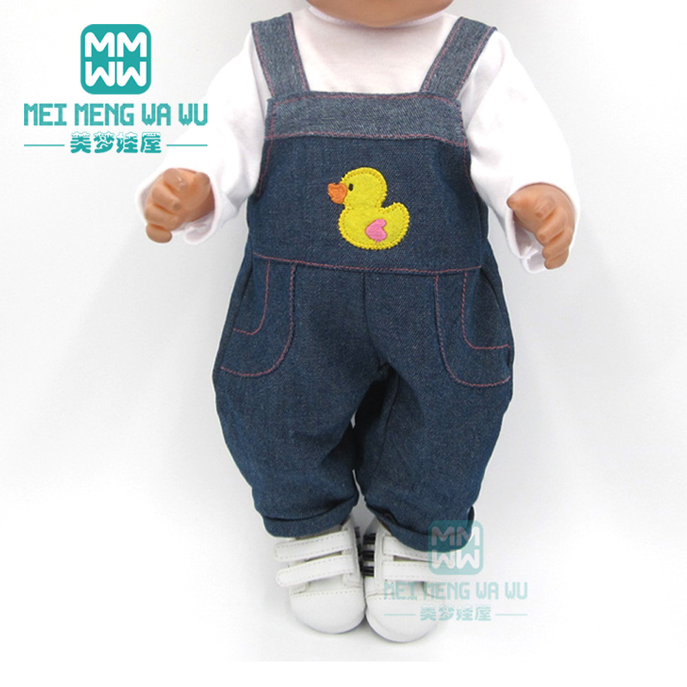Baby Clothes For Doll Fit 43cm Toy New Born Accessories White T-shirt + Jeans