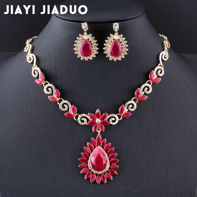 Jiayijiaduo  New Retro Bridal Jewelry Sets for Women Wedding Accessories Gold Color Flower Necklace Sets Earrings Love Gift