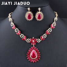 jiayijiaduo 2017 new Retro bridal jewelry sets for women wedding accessories gold color flower Necklace set earrings love gift