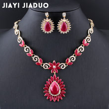 Jiayijiaduo New Retro Bridal Jewelry Sets for Women Wedding Accessories Gold Color Flower Necklace Sets Earrings Love Gift(China)