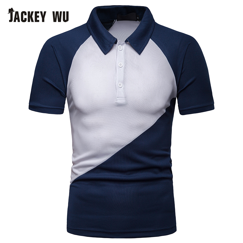 JACKEYWU Casual   Polo   Shirt Men 2019 Summer Contrast Color Raglan Sleeve   Polos   Cotton Breathable Men's Bottoming   Polos   Camisa