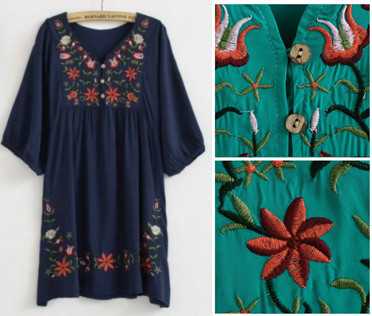 2017 Hot Sale Free Shipping vintage 70s mexican Ethnic Floral EMBROIDERED Hippie Blouse DRESS women clothing vestidos Free Sz
