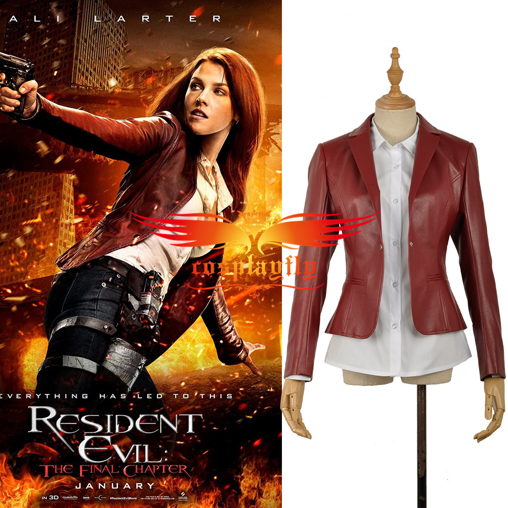 Cosplay Costume Resident Evil 6 The Final Chapter Claire Redfield Jacket Coat Shirt Pleather PU Cos Movie Adult Women Outfit