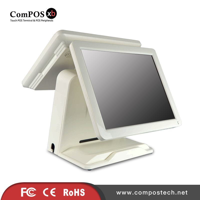 Free Shipping Black and White Cheap 15 inch Dual Screen POS All In One POS System For Restaurant Super Market Cash Register все цены