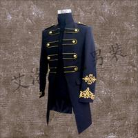 2016 New Men Singer Europe And America Stand Collar Suit Palace Black Long Suit Coat Costume