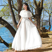 Summer Women BS Vintage Bohemia Elegant Slim Sleeveless O Neck Embroidery Mesh Lace Patchwork Chiffon Maxi Long Dress With Cape