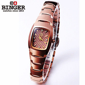 Binger HOT Sale Brown Women Fashion Steel Square Watches Punk Style Of Women Dress Watch Golden Analog Crystal Quartz Wristwatch smileomg hot sale fashion women crystal stainless steel analog quartz wrist watch bracelet free shipping christmas gift sep 5