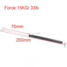 Auto Gas Spring 15Kg / 33 lb Force 70mm Long Stroke Hood Lift Support Auto Gas Springs M8 Hole Diameter Sliver Tone